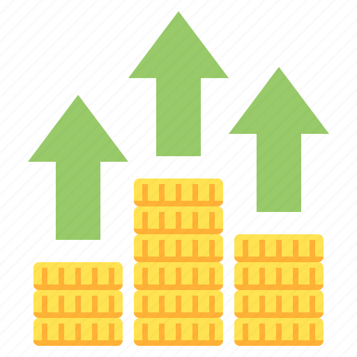 arrow, coins, grow, money, stock icon