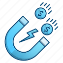 attracting, investment, magnet, making money icon