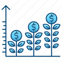 analytics, chart, growth, investment, plants icon