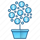 growth, investment, money, tree icon