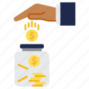 coin, investments, jar, money, saving icon