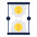 finance, hourglass, investments, management, money, time icon