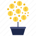 business, growth, investments, marketing, plant, tree icon