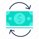 banking, cash, currency, financial, flow, investments icon