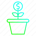 financing, growth, investment, plant icon