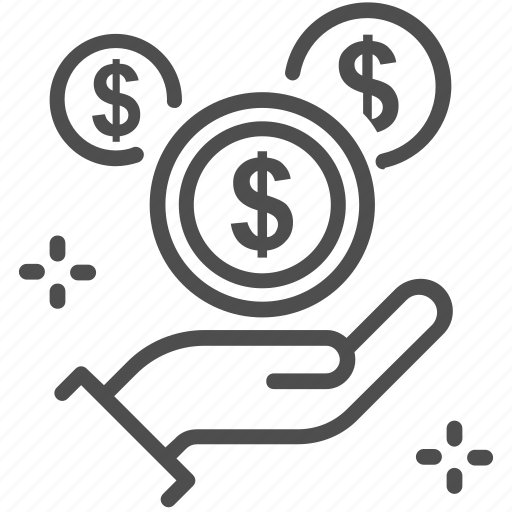 charity, coin, dollar, donation, hand, money icon