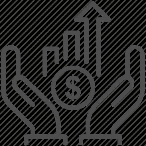 analytics, career, coin, dollar, growth, hand icon