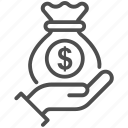 bag, business, give money, hand, investment, money icon