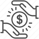 discount, dollar, hand, money, save money icon