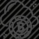 bitcoin, bitcoin icon, cloud, cloud icon, coin icon