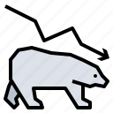 bear, down, investment, market, stock icon