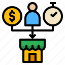 finance, investment, management, money, store icon