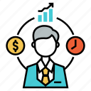 analysis, financial, fund manager, investment, management, stock market, trade icon