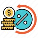 financial, interest, investment, loan, mortgage, profit, rate icon
