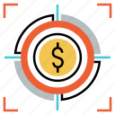 financial, goal, investment, market, marketing, strategy, target icon