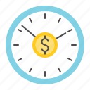 business, clock, finance, fund, investment, money, time is money icon