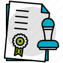 stamp, paper, documents, approved, assessment icon