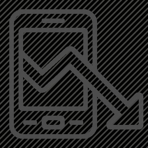 arrow, graph, loss, mobile phone, report, smartphone icon