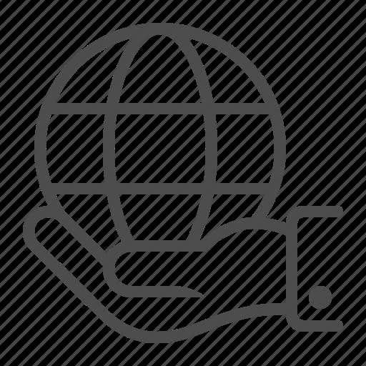 globe, hand, holding icon