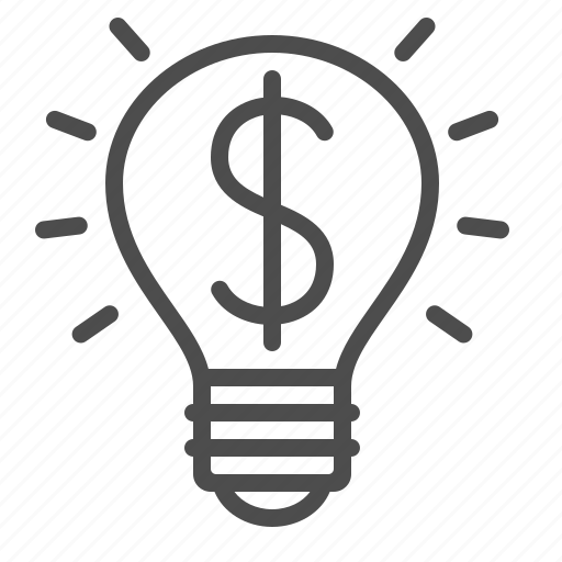 dollar, idea, light bulb icon