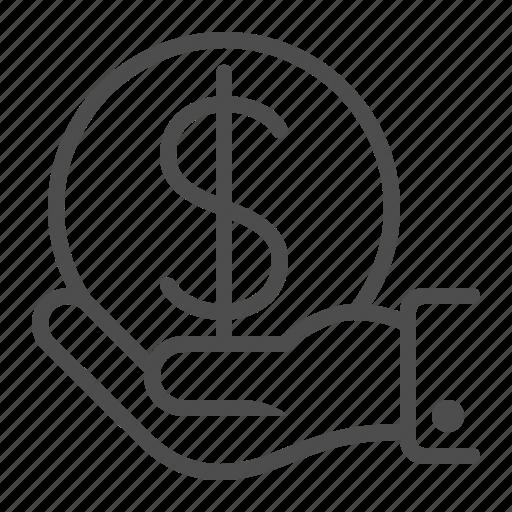 dollar, hand, holding, insurance, investment, money icon
