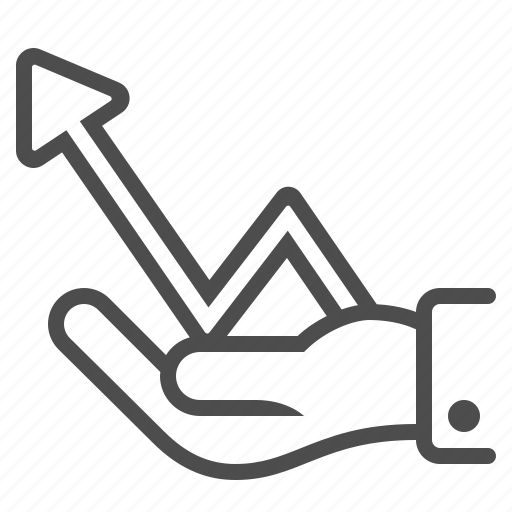 arrow, graph, hand, holding, profit, report icon