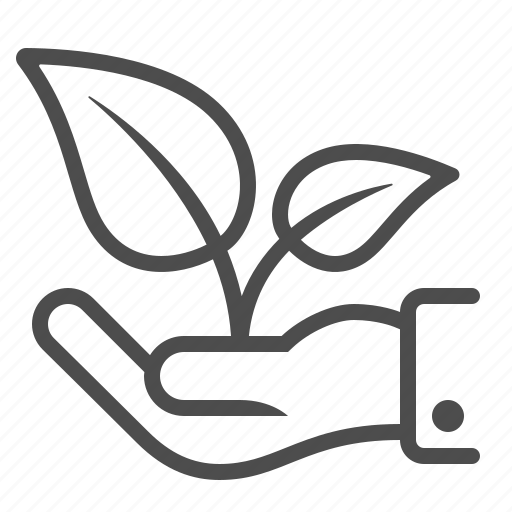 ecology, growth, hand, holding, investment, plant, startup business icon
