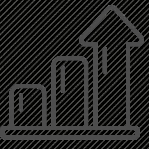 arrow, chart, graph, growth, presentation, profit icon