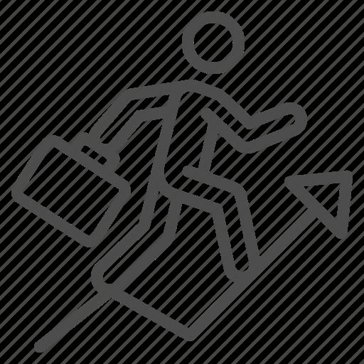 arrow, businessman, career, climbing, man, running, success icon