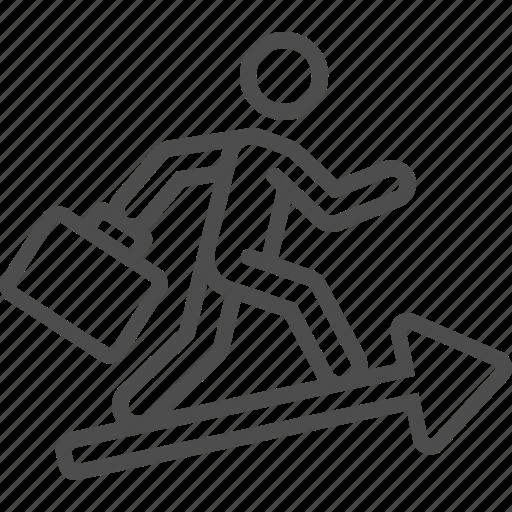 arrow, businessman, career, running man, success icon