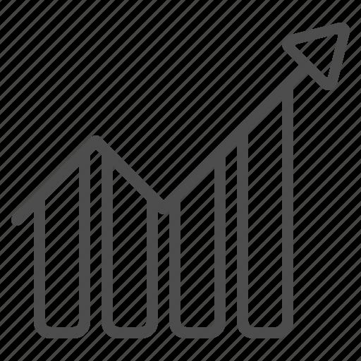 arrow, chart, graph, growth, presentation, profit, report icon