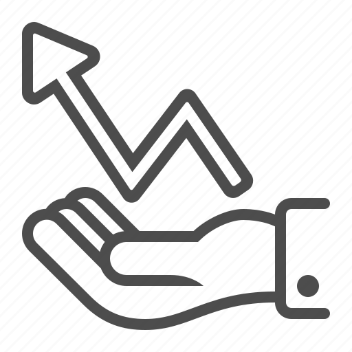 arrow, graph, growth, hand, holding, profit, report icon