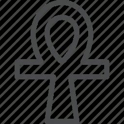 ankh, cross, religion icon