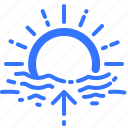 dawn, forecast, horizon, sun, sunrise, uprise, weather icon