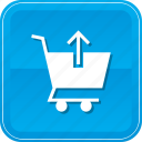 arrow, cart, commerce, shopping, up, upload icon