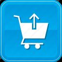 arrow, cart, commerce, shopping, up, upload icon