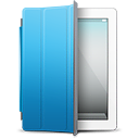 blue, cover, ipad, white icon