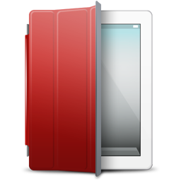 Ipad, white, red, cover icon