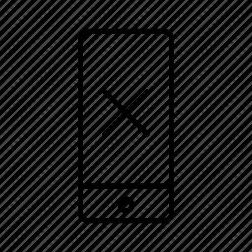 device, error, iphone, mobile, screen, smartphone, x icon