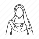female, hijab, muslim, veil icon