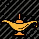 aladdin, genie, islam, lamp icon