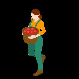 farm, farmer, female, gathering, people, woman icon