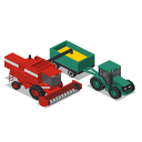 combine, farm, front, rural, tractor, vehicles icon