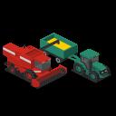 farm, vehicles, combine, front, rural, tractor