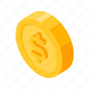 coin, dollar, gold, isometric, money icon