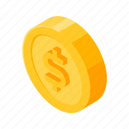 coin, dollar, gold, isometric, money icon
