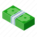 cash, dollar, isometric, money