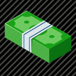 cash, dollar, isometric, money icon