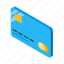 card, credit, isometric, money, payment icon