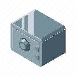 box, isometric, safe, secure, steel icon